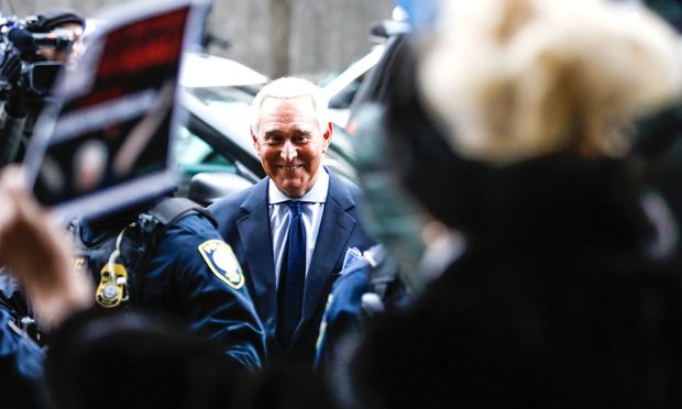 Former Trump adviser Roger Stone arrives for his arraignment at Federal Court in Washington on Tuesday, Jan. 29, 2019. Credit: Diego M. Radzinschi / NLJ