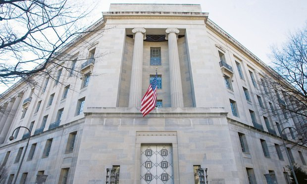 U.S. Department of Justice building in Washington, D.C. Jan. 10, 2012. Photo by Diego M. Radzinschi/THE NATIONAL LAW JOURNAL