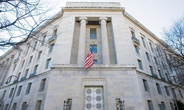 U.S. Department of Justice building in Washington, D.C. January 10, 2012. Photo by Diego M. Radzinschi/THE NATIONAL LAW JOURNAL.