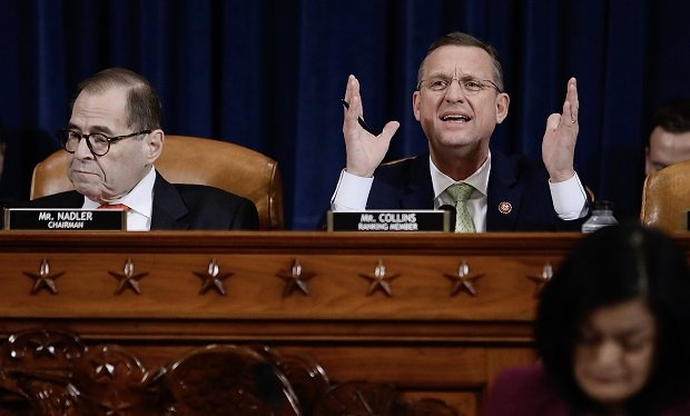 Reps. Jerry Nadler, D-New York, left, and Doug Collins, R-Georgia, during a hearing on amendments to two articles of impeachment before the House Judiciary Committee Thursday.