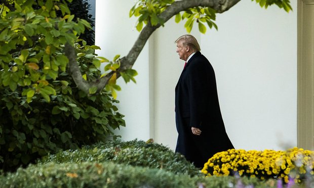 President Donald Trump walks towards Marine One after speaking during an event held in the East Room of the White House in Washington, D.C.