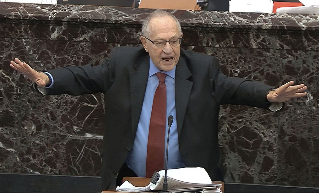 Alan Dershowitz, an attorney for President Donald Trump, answers a question during the impeachment trial against Trump in the Senate at the U.S. Capitol in Washington, Wednesday, Jan. 29. Photo: Senate Television via AP