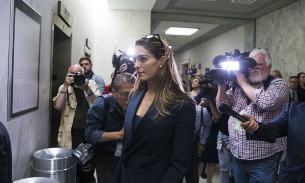 Hope Hicks, former White House communications director, and her legal team exit as Hicks participated in a closed-door interview with the House Judiciary Committee.
