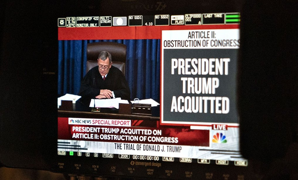 """President Trump Acquitted"" is displayed on a television monitor at the U.S. Capitol in Washington, D.C., on Wednesday, Feb. 5. Photo: Andrew Harrer/Bloomberg"