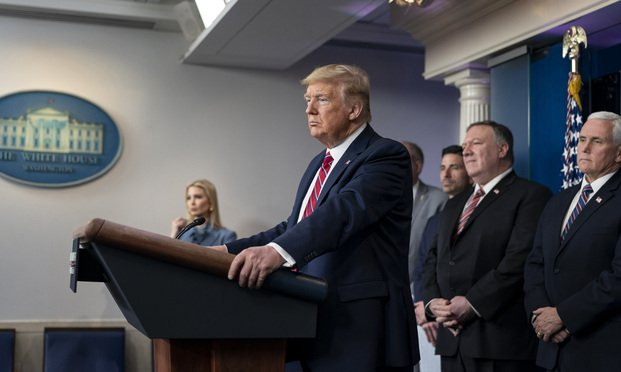 President Donald J. Trump, joined by Vice President Mike Pence and members of the White House Coronavirus Task Force, delivers remarks during a coronavirus update briefing Friday, March 20, 2020, in the James S. Brady Press Briefing Room of the White House.