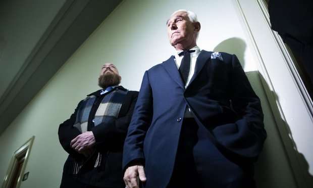 Roger Stone, former Trump campaign advisor, right, inside the Rayburn House Office Building, ahead of a House Judiciary Hearing with testimony from Google CEO Sundar Pichai, on Tuesday, December 11, 2018.