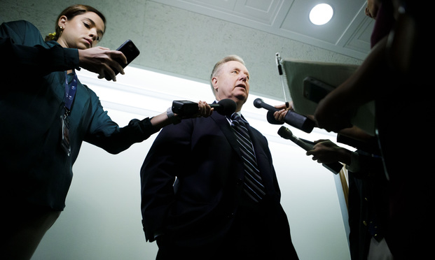 Senator Lindsey Graham (R-SC), speaks to members of the press before.
