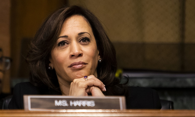 Sen. Kamala Harris (D-Calif.) during a Senate Judiciary Committee hearing in February 2019.
