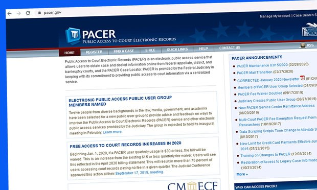 Screenshot of PACER's website.