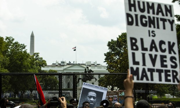 Thousands march in Washington, D.C. protesting police brutality and the killing of George Floyd in Minnesota at the hands of local police.