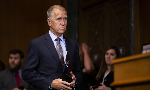 Senator Thom Tillis (R-NC) during a Senate Judiciary Committee nominations hearing on Wednesday, June 26, 2019.