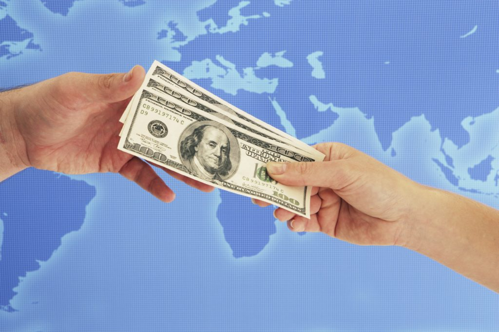 international money world map dollars