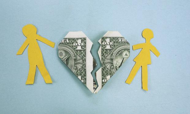 divorce money broken heart dollar bill