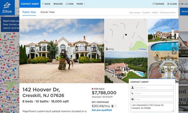 Zillow Website Screenshot Of House At 142 Hoover Drive, Cresskill, NJ 07626