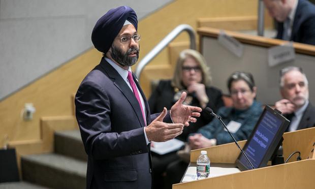 Gurbir S. Grewal, New Jersey attorney general, speaks at Seton Hall Law School. Photo by Carmen Natale.