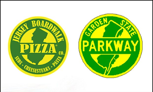 The logo of the Boardwalk Pizza company, based in Florida, and the official insignia of the Garden State Parkway.