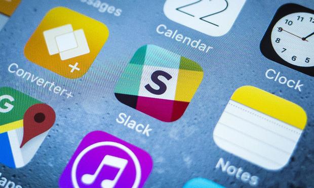 Slack app on an iPhone.