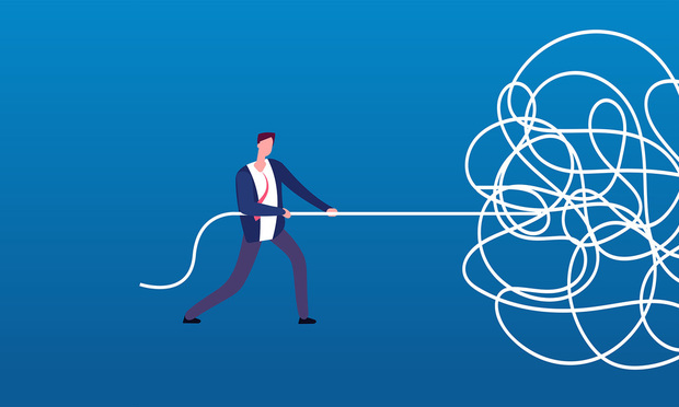 business man tangled rope