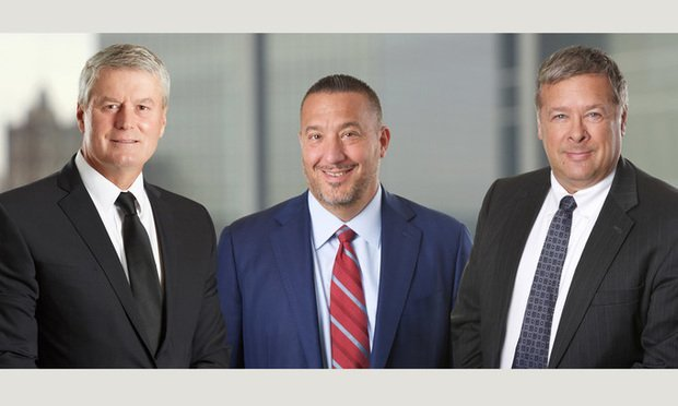 Michael Kelly, outgoing McCarter & English executive committee chair, Joseph Boccassani, managing partner, and Joseph Lubertazzi, incoming chair.