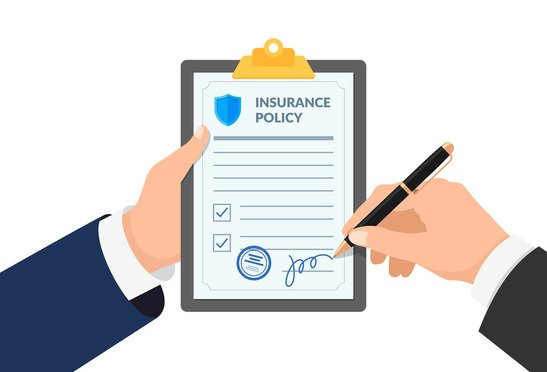Insurance agent hand holding clipboard with policy form and businessman signs agreement protection document. Shutterstock