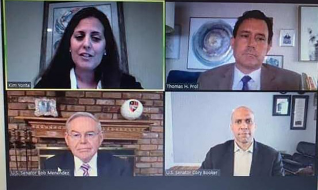 Clockwise from top left: NJSBA Secretary Kim Yonta, former NJSBA President Tom Prol, U.S. Sens. Cory Booker and Bob Menendez on a COVID-19 Response, Relief and Steps Ahead virtual Q&A on May 27.
