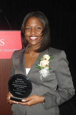 Fabiana Pierre-Louis at a Rutgers University Alumni Awards event where she won a Rutgers Spirit Award.