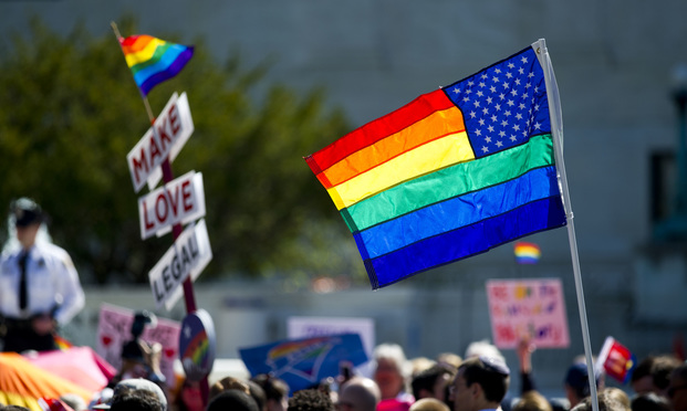 The scene outside the U.S. Supreme Court during the same-sex marriage arguments.