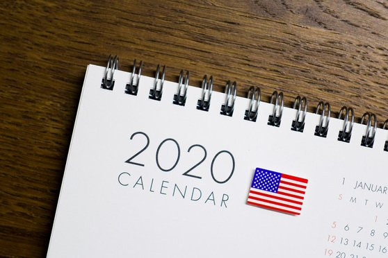 United States Flag on 2020 Calendar. - hyotographics/Shutterstock