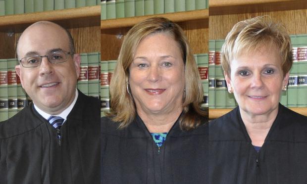 (l-r) Judges Stuart Minkowitz, Marlene Lynch Ford, and Bonnie Mizdol. Credit: NJ Judiciary