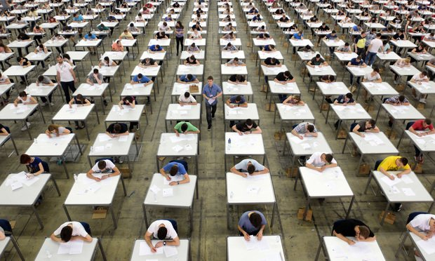 Students in an exam.