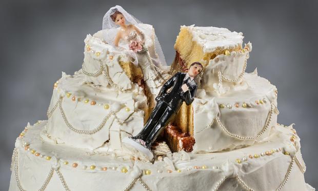 Broken wedding cake