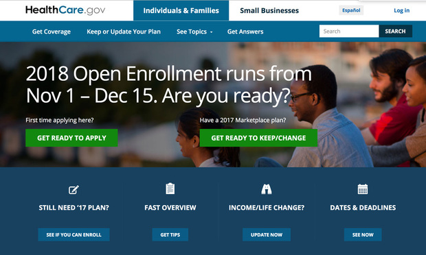 Affordable Care Act open enrollment web page