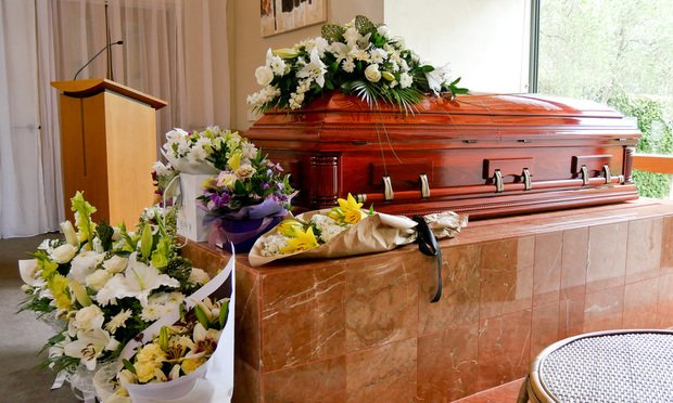 funeral casket stock photo