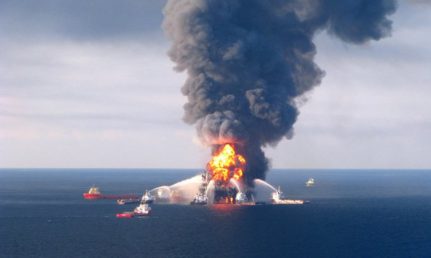 Fire boat response crews battle the blazing remnants of the off shore oil rig Deepwater Horizon, April 21, 2010.