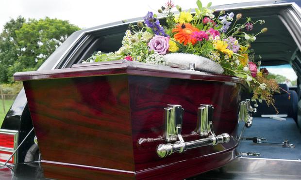 burial casket in hearse