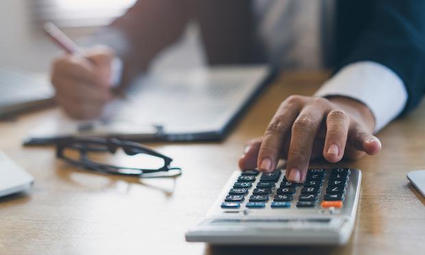 calculator and hand