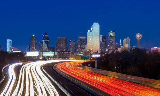 Dallas downtown skyline at night, Texas.