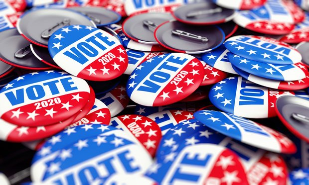 red white and blue vote pins