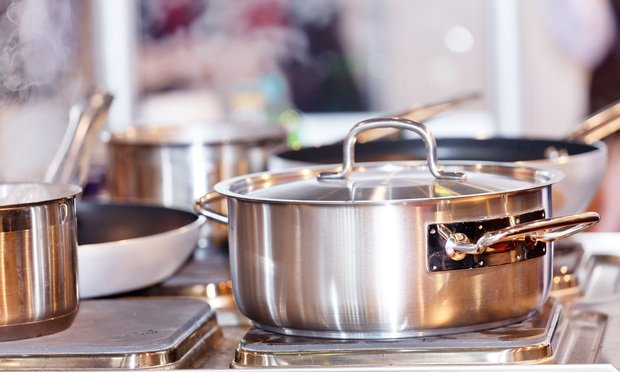 pots and pans on a stove
