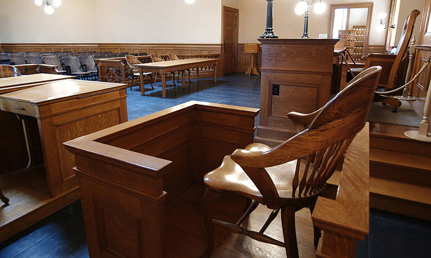 witness stand in a courtroom