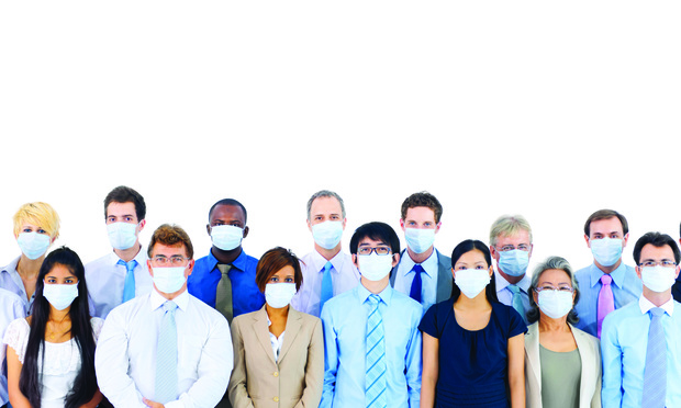two rows of people wear face masks