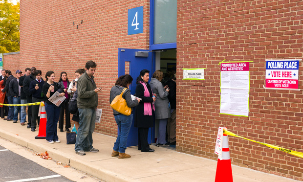 Voters lining up in to vote on election day