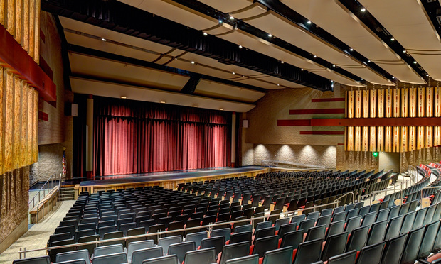 Modern theater in a high school.