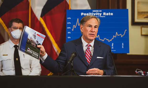 Texas Gov. Greg Abbott gives a press conference about COVID-19.