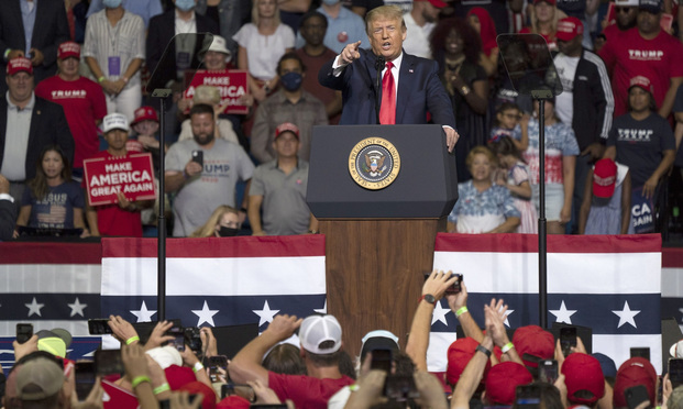 U.S. President Donald Trump speaks during a rally in Tulsa, Oklahoma, U.S., on Saturday, June 20, 2020. Trump's first campaign rally since the coronavirus pandemic took hold in the U.S. drew far fewer supporters than the president and his advisers had predicted, a downbeat end to a day of controversy over efforts to oust a top prosecutor in New York. Photographer: Go Nakamura/Bloomberg