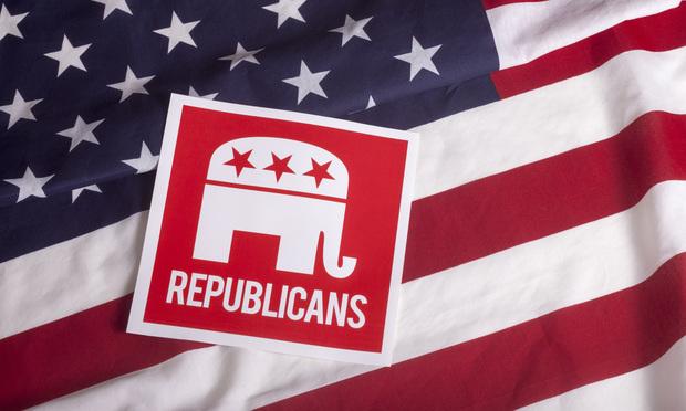 republican elephant on an American flag