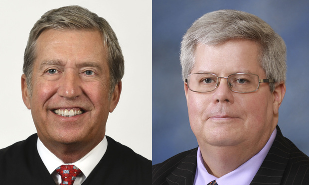 192nd District Judge Craig Smith, left, and John Browning, right, partner in Spencer Fane in Dallas. Courtesy photos
