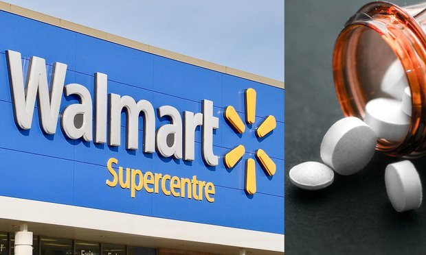 A Walmart sign and a bottle of white pills. Photo: Shutterstock