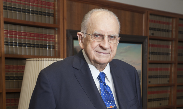 U.S. Court of Appeals for the Fifth Circuit Judge Tom Reavley, who died Tuesday in Houston at the age of 99, pictured in his office in 2016 when he was still active taking cases. Photo: John Everett