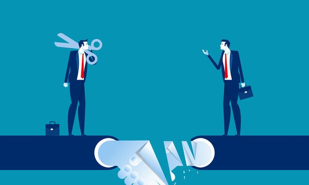 illustration of a business relationship breakup. Photo: zenzen/Shutterstock.com